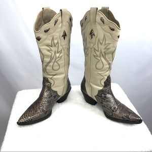 Reba Cowboy Boots Beige Snakeskin Leather 8M